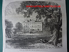 Engraving of Brocket Hall with an oak tree and sheep in the foreground