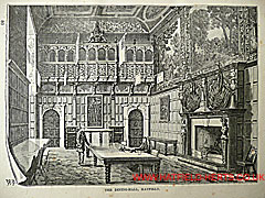Engraving of the dining hall in Hatfield House