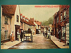 Colourised postcard view of Park Street, Hatfield