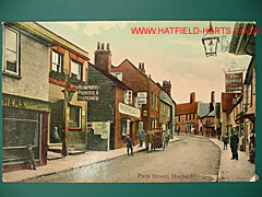 Colourised postcard view up Park Street