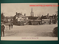 monochrome postcard view of Hatfield from Brewery Hill